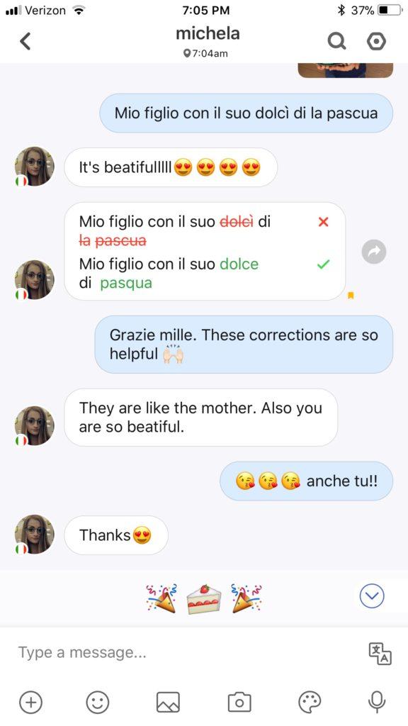 italian convo on HelloTalk App