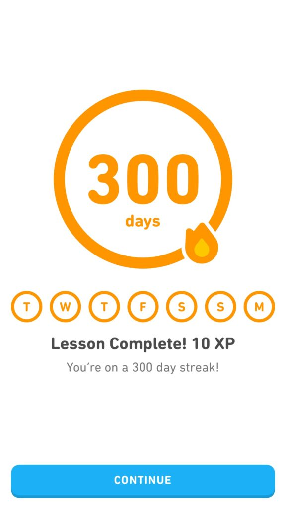 300 day streak by Camille on duolingo