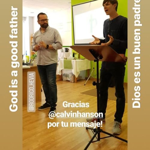 Giving a message at a friend's church in Asturias